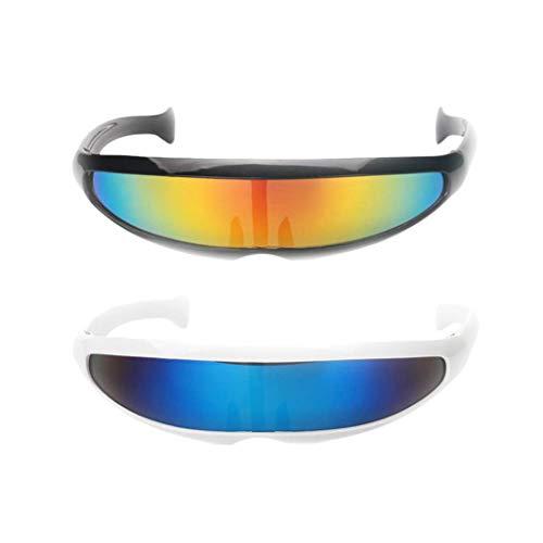SeaStart 2er Set Futuristische Cyclops Sonnenbrille Verspiegelte Partybrille Spaßbrille Foto Requisiten Accessoires