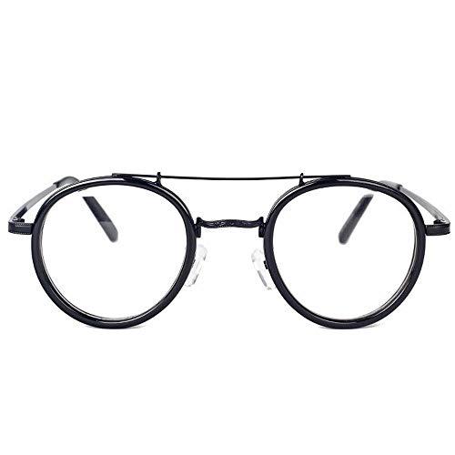 Mädchen Mode Runde Metall Myopie Brillengestell Optische Brillen Nicht verschreibungspflichtige Brillengestell für Frauen. Brille (Farbe : Schwarz)