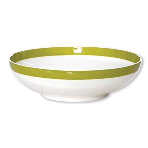 Bruno Evrard Assiette Creuse Filet Vert anis en Porcelaine 20cm - Lot de 6 - Freshness Stripe