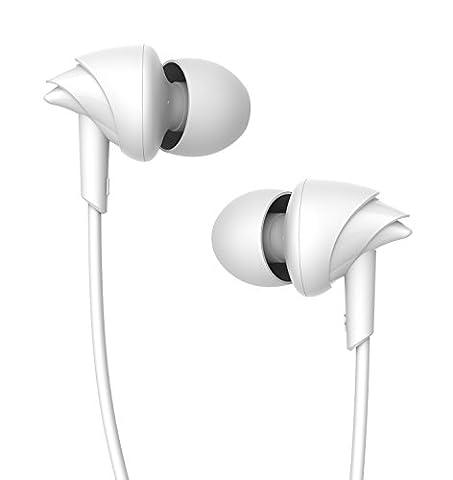 UiiSii C200 In-ear Sport écouteurs HD Claire Musique avec Microphone Anti-bruit pour Iphone/Samsung/Ipod/PC/Tablette (Blanc)