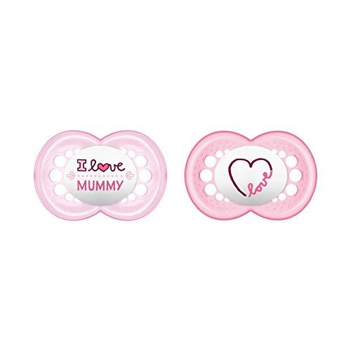 MAM Original Silikon Schnuller im 2er-Set, besonders sanfter Schnuller, Baby Schnuller aus speziellem MAM SkinSoft Silikon mit Schnullerbox, 6+ Monate, rosa