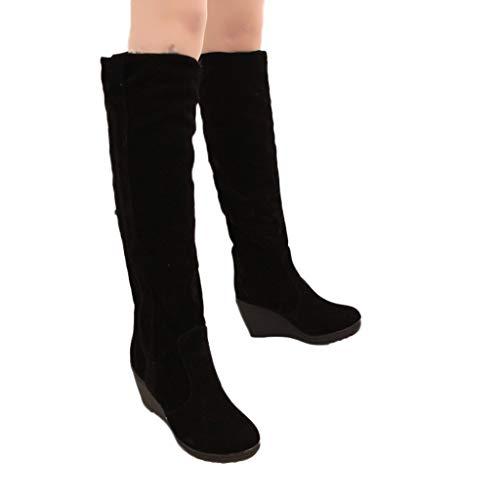 Tianwlio Frauen Herbst Winter Stiefel Schuhe Stiefeletten Boots Damen Stiefel Mode Kurze Schlüpfen Wedges Hochhackige Plattform Schneestiefel Schwarz 37