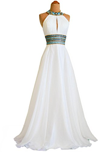 Fanciest Women's 2016 Halter Formal Prom Dresses Backless Evening Gowns White