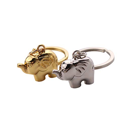 WINOMO 2 stücke Elefanten Schlüsselanhänger Keychain Metall Coole Auto Schlüsselanhänger Handtasche Tasche Anhänger Dekoration Kreative Geschenk Party Favor (Golden und Silber)