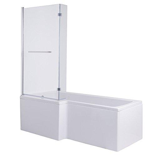 Live 1700 mm linksseitige L-förmige Duschbadewanne mit Duschwand und Seitenverkleidung