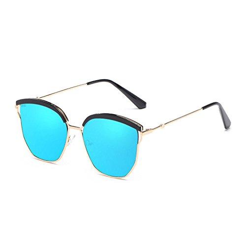 RYRYBH Sonnenbrille, neutrale Sonnenbrille, polarisiert, groß, mit Metallrahmen, UV-Reflektorlinse Breite 64 mm Sonnenbrille Sonnenbrille (Farbe : Blau, größe : One Size)