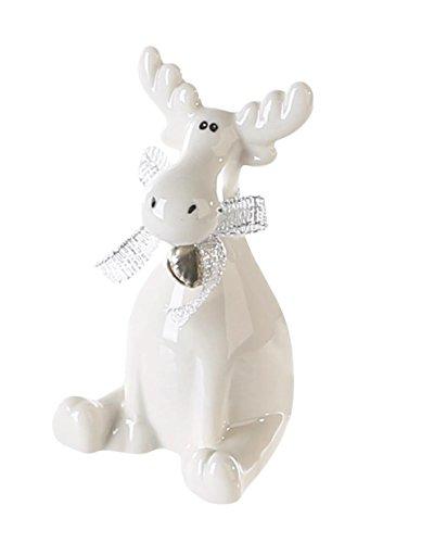 1 x Elch Marlon Porzellan weiß glasiert m. Band u. Glocke Höhe 18 cm, Weihnachten, Tischdeko (Pfoten auf Boden (rechts)) -