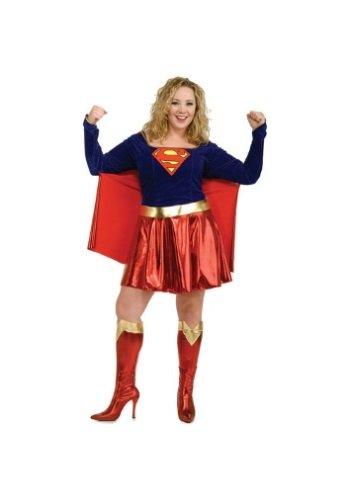 Supergirl Kostüm für Damen, (Supergirl Adult Plus Kostüm)