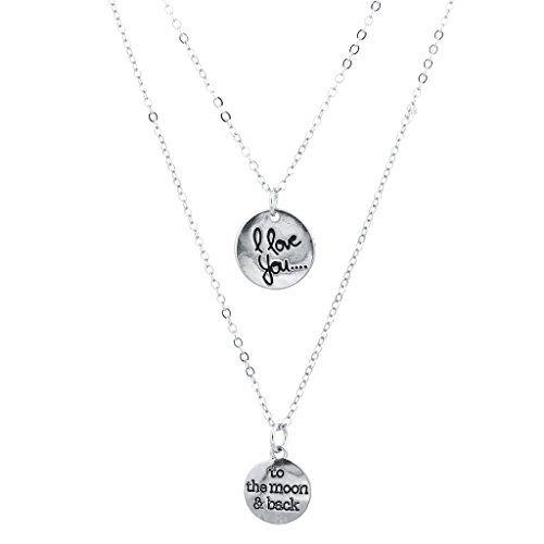 LUX Zubehör Gold Ton I Love You To The Moon And Back Layered Charm Halskette (Opal Moon Halskette)