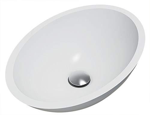 BERNSTEIN Aufsatzwaschbecken TW2106 aus Mineralguss Pure Acrylic - Matt - 50 x 35 x 15 cm, Ablaufgarnitur/Pop-up:Ohne Ablaufgarnitur, Zusätzl. Blende für Ablaufgarnitur:ohne zusätzl. Blende