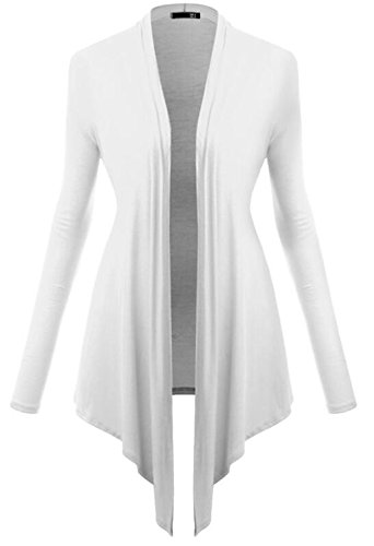 LemonGirl Womens Long Sleeve Irregular Hem Pocket Cardigan Tops Sizes 34-48 white