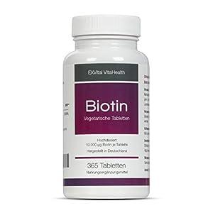 Biotin, EXVital für Haare, Haut und Fingernägel, hochdosiert, 10.000 µg, 365 Tabletten in deutscher Premiumqualität