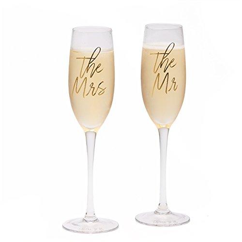 Two's Company Die mr & mrs die Hochzeit Sektkelche Gläser prost uns 10,25 inches klar