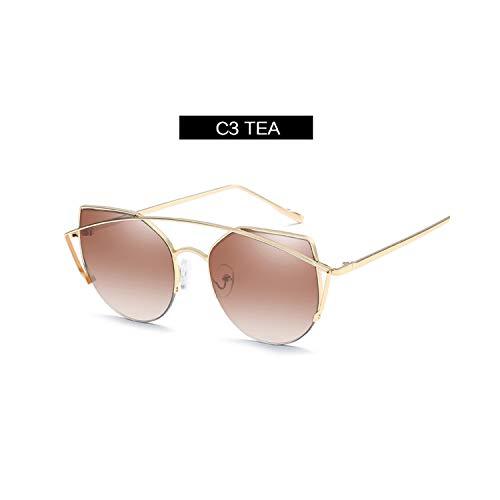 Vikimen Sportbrillen, Angeln Golfbrille,Vintage Cat Eye Sunglasses Women Luxury Brand Designer Metal Double Beam Original Sun Glasses For Female Flat Top Glasses TEA