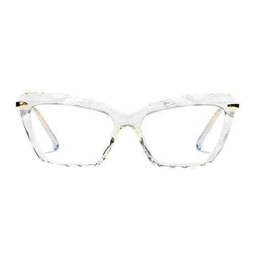 Meijunter Männer Frauen Mode Brille - Anti Ermüden Computerspiel Brillen Harz Linsen Blau Licht Filter Katzenauge Brille(Weiß)