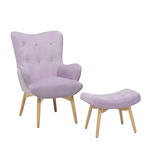 Beliani Sessel Samtstoff violett Plus Hocker VEJLE
