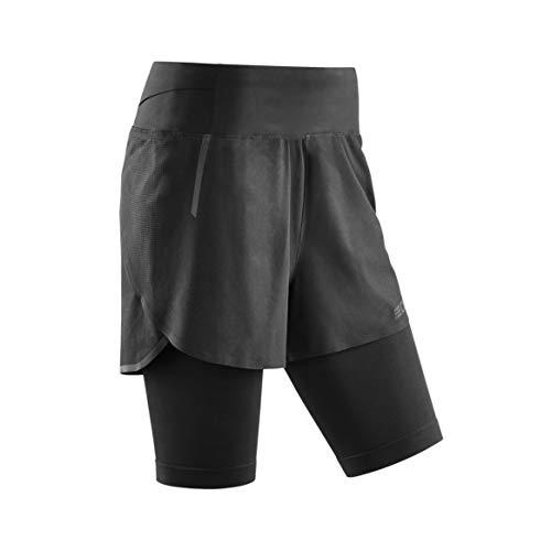 CEP - Run 2IN1 Shorts 3.0 für Damen | Kurze Sporthose mit Kompression in schwarz | Größe IV -