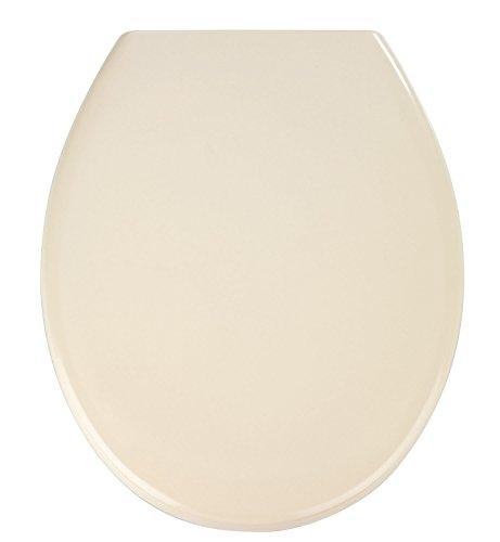 WENKO Premium WC-Sitz Ottana - Absenkautomatik, rostfreie Fix-Clip Hygiene Edelstahlbefestigung, 37,5 x 44,5 cm, beige