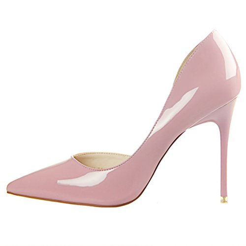 HooH Femmes Sexy Pointu D'Orsay Stiletto Escarpins Rose