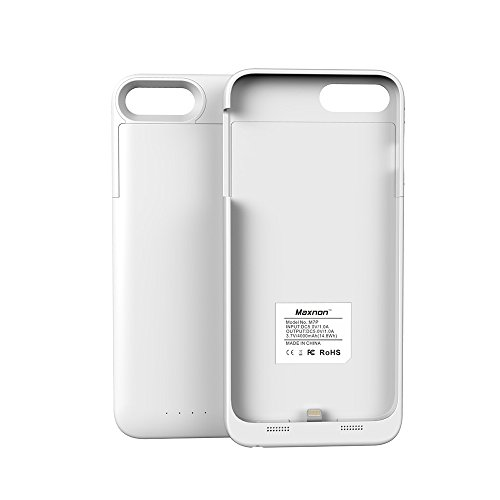 Batterie Coque iPhone 7 Plus / iPhone 8 Plus 4000mAh Cover, Forhouse Battery Externe Rechargeable Case Coque 4000 mAh Li-polymer Power Bank Portable Chargeur Batterie Pack Etui Housse Antichoc Smart C Blanc
