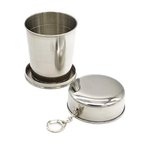 AFCITY Faltbare Wasserflasche Edelstahl Camping Cup Camping Klappbecher Portable Outdoor Abnehmbar Mit Schlüsselanhänger für Camping/Outdoor/Wandern (Farbe : Silber) -
