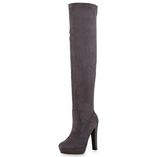 napoli-fashion Damen Overknees Plateau Stiefel Langschaft Stilettos Leder-Optik Schuhe Grau 41 Jennika