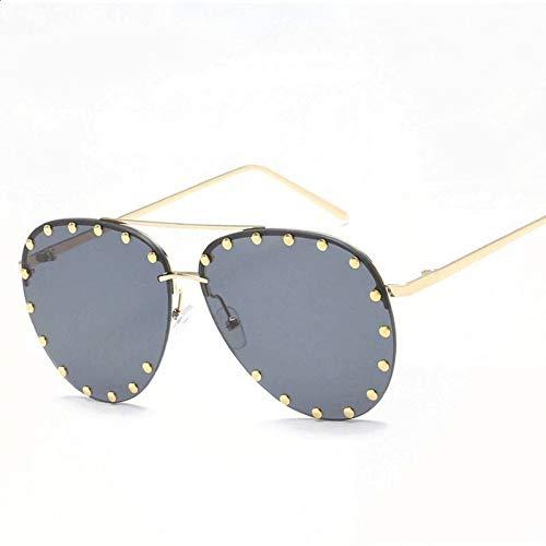 CCGSDJ Luxus Luftfahrt Sonnenbrille Frauen Nieten Übergroßen Farbverlauf Shades Sonnenbrille Männer Hohe Qualität Eyewear