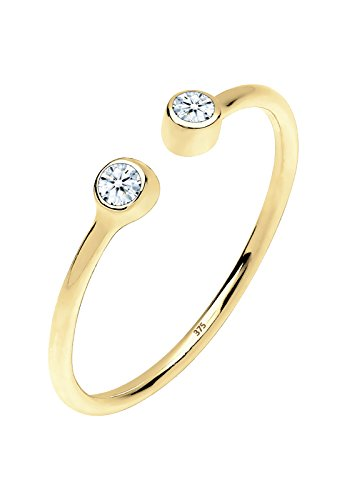 Elli PREMIUM Damen-Stapelring filigran & modern 375 Gelbgold Diamant (0.06 ct) Brillantschliff weiß Gr. 58 (18.5) - 0610360914_58