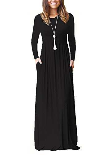 Dasbayla Women's Casual Long/Short Sleeve Maxi Dress with Pockets
