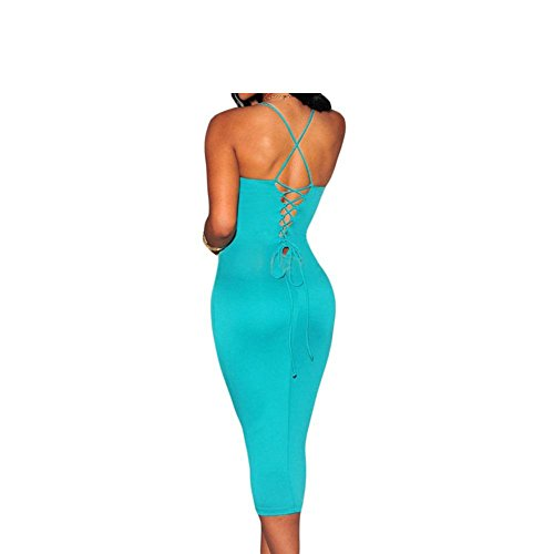 PU&PU Femmes Casual / Party / Cocktail Club Robe croisée, Body Con Deep V Sans manches Open Back blue