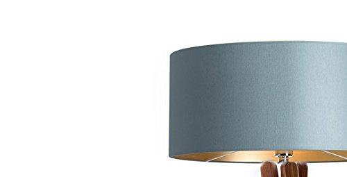Hochwertige Design Stehlampe Tripod mit Textil Schirm in Grau Gold und Stativ/Gestell aus dunklem Holz Echtholz Nussbaum | H= 160cm | Stehleuchte | Handgefertigte Leuchte - 2
