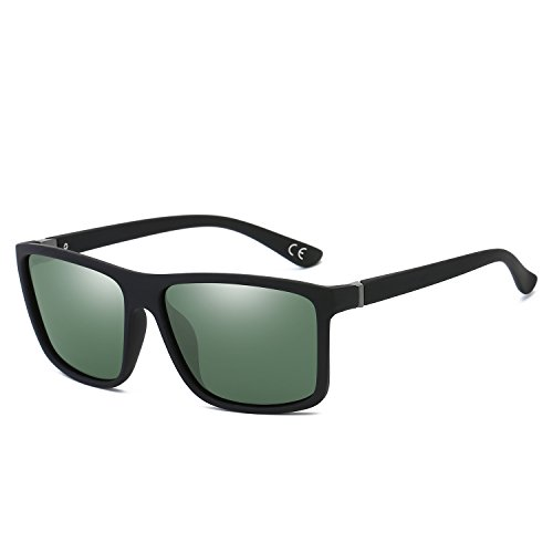 BVAGSS Gafas De Sol Polarizadas Modelo Vintage Classic Gafas Hombre Excelentes Para Montar Bicicleta Y Conducir (Black Frame With Green Len)