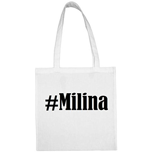 Tasche#Milina Größe 38x42 Farbe Weiss Druck Schwarz
