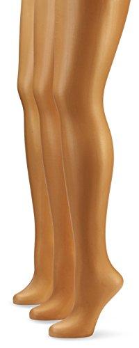 Nur Die Damen Strumpfhose 725949/3er Pack Transparent, 15 DEN, Gr. 48 (Herstellergröße: L (44-48)), braun (bronze 213)