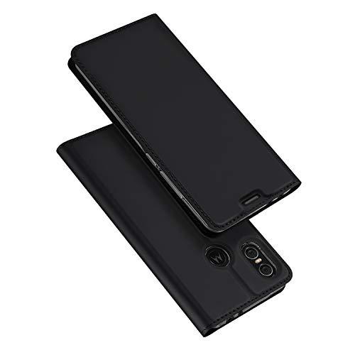 DUX DUCIS Hülle für Moto One, Leder Flip Handyhülle Schutzhülle Tasche Case mit [Kartenfach] [Standfunktion] [Magnetverschluss] für Motorola Moto One (Schwarz)