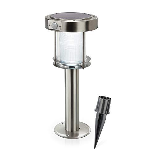 Solar Sockelleuchte Ancona Professional Duo color, warmweißes & kaltweißes Licht umschaltbar, mit Bewegungsmelder und hochwertigem Echtglas-Solarmodul, Höhe: ca. 43cm, 2 Lichtstufen, esotec 102536