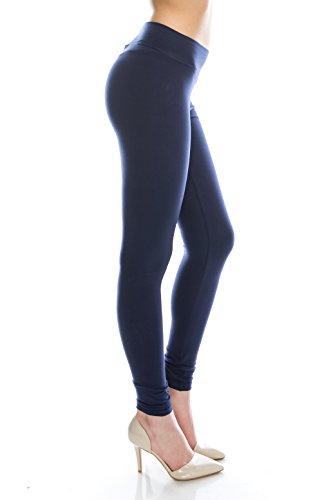 BaumwollSpandex Grund Knit Jersey Regular Voll-Gamaschen-Hosen Navy L (Knit Navy Skirt)
