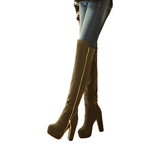 Geili Damen Overknees Stiefel mit Blockabsatz Frauen Elegante Langschaft Wildleder Stiefel Plateau Hoher Absatz Reißverschlus High Boots Übergrößen Wasserdicht Stöckelschuh Abendschuhe 36-41