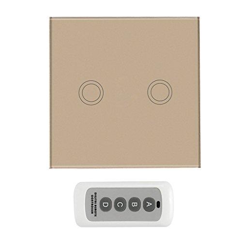 MagiDeal 433MHz Funk Licht Schalter drahtlose Fernbedienung Touch Panel mit Fernbedienung - Gold, 2 Gang