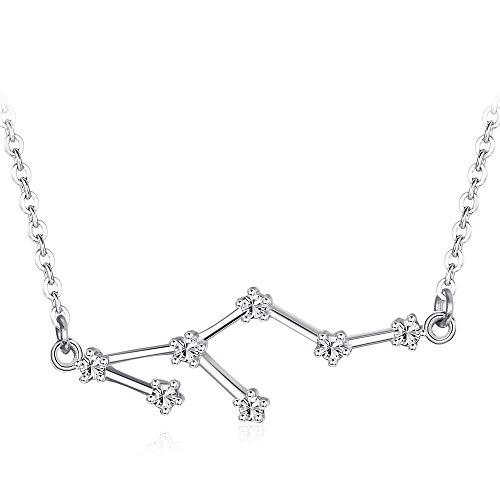 e33595f6261f Besteel Plateado 12 Constelación Collar Colgante para Mujeres Niñas del  Zodiaco Estrella Horóscopo Collar de Cadena