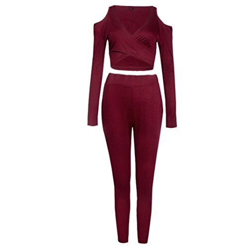 Ouneed® Femme Denudee Sexy Comfort Ensmble Slim Tops + Panta en Cotton Rouge
