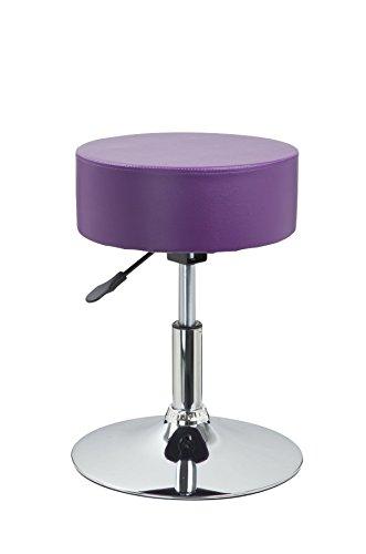 Tabouret rond en similicuir Violet Réglage en hauteur Duhome 0470