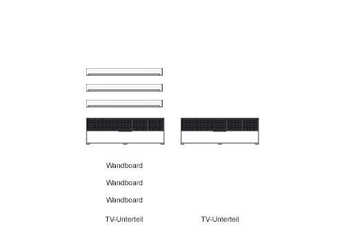 5-tlg Wohnwand in Hochglanz weiß/grau mit Akustik-Fächern, Gesamtmaß B/H/T ca. 284/180/51 cm - 2