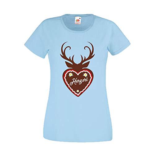 Oktoberfest T-Shirt Damen mit Motiv Lebkuchen Herzerl - Tracht Frauen Himmelblau - Damen Lebkuchen Mann Kostüm
