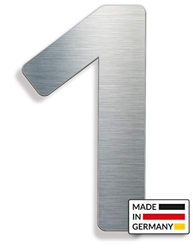 Edelstahl Hausnummer 1 - INOXSIGN N01 - hochwertige rostfreie Hausnummer mit Montagematerial - modern matt gebürstet - elegantes Hausnummernschild - Made in Germany