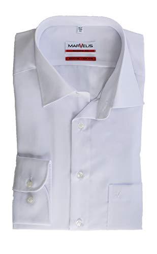 Marvelis Hemd, Weiß, Modern Fit, Bügelfrei, Knitterfrei, 100% Baumwolle, New Kent Kragen (42) -