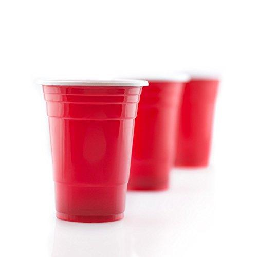 Gobelets américains de 455 ml | Lot de 100 | Rouge rubis, gobelets jetables en plastique | Pour les fêtes by RIVENBERT
