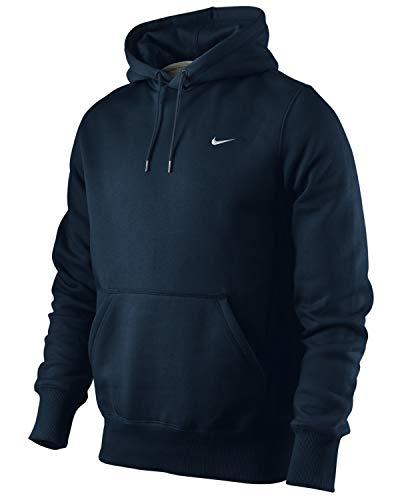 Nike Herren Pullover Hoody Classic Fleece, Dark Obsidian/dk Grey Heather/White, S, 404538 -