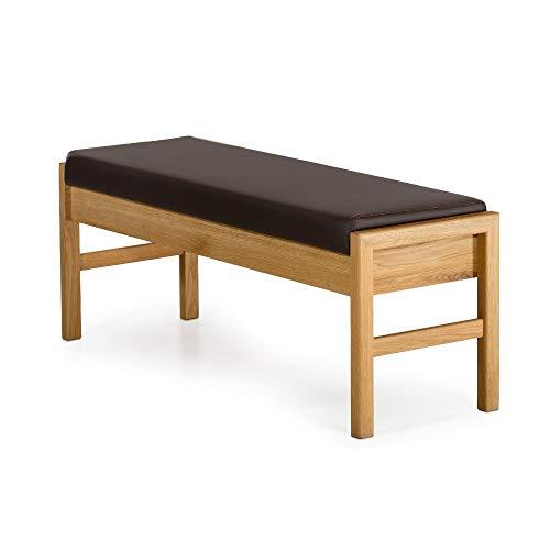 Marca Amazon -Alkove - Hayes - Banco de madera maciza con asiento tapizado roble salvaje