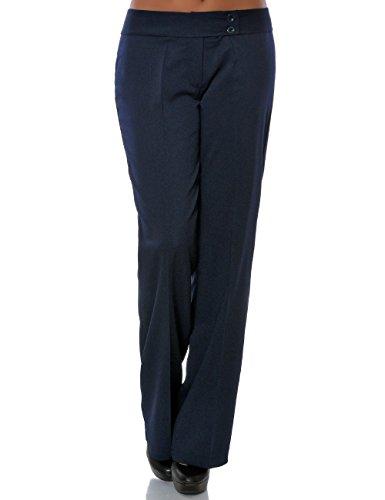 Damen Business Hose Stoffhose Straight Leg (Gerades Bein) No 15709, Farbe:Navy, Größe:M / 38